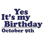 October 9th Birthday T-Shirts & Gifts