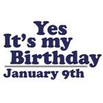 January 9th Birthday T-Shirts & Gifts