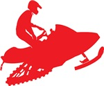Snowmobiler in Red