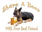 German Shepherd Shares A Beer