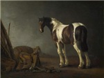 Antique Painting of Brown and White Horse