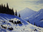 Snowy mountains scene