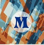 Blue Brown Modern Abstract Monogram