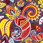 Vintage Red Yellow Floral Paisley