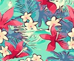 Abstract Hibiscus Tropical Floral