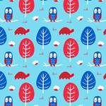 Red Blue Owl Turtle Tree