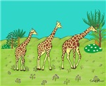 Giraffe's facing right