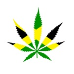 Pot leaf Jamaican Flag