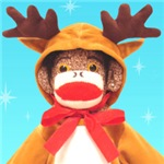 Tommy, the sock monkey reindeer