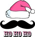 Mustache Santa Pink