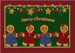 Gingerbread Kids With Apples & Stars Folk Art Chri