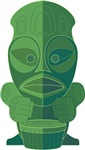 Green Tiki | Hand Carved Exotic Tiki Head T-shirts