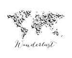 Wanderlust, world map with flying birds