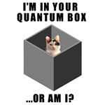 I'm in your quantum box ... or am I?  This quantum physics geek t-shirt has a image of a cute cat inside a quantum box.  But perhaps the little kitty is not in our quantum box?  The quantum cat design is the perfect gift for the cat lover and physics geek