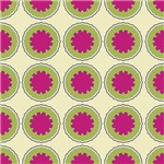 Pretty Pink Flowers In Green Circles Pattern