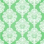 Large White Damask On Mint Green