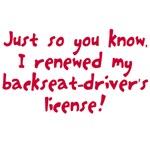 Renewed backset-driver's license