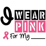I Wear Pink Ribbon Stylish Breast Cancer T-Shirts 