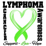 Lymphoma Brushed Heart Ribbon Shirts & Apparel
