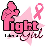 Silouhette Fight Like a Girl Breast Cancer T Shirt