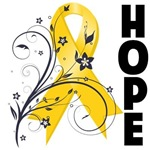 Hope Floral Ribbon Childhood Cancer Shirts