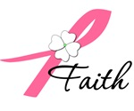 Faith Pink Flower Ribbon Breast Cancer Shirts