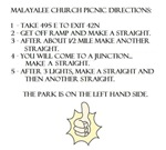 Malayalee Church Picnic Directions
