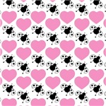 Pink Hearts Black Ladybugs