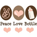 Peace Love Bottle Pink Brown Baby Girl