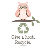 Give A Hoot Recycle Owl T shirt Tees Gifts