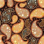 Black Orange and Brown Paisley