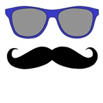 Sunglasses and Mustache | Blue