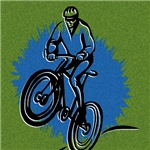 A cyclist bursts out of a spash of blue on this great cycling t-shirt.  A wonderful combination of line artwork and color make this design the perfect gift for any cycling fan.