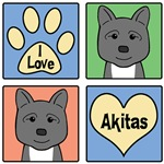 I Love Akitas (Black Akitas)