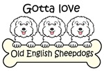 Three Old English Sheepdogs