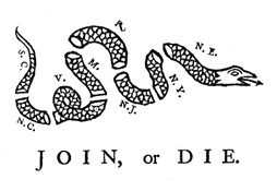 Join or Die Ben Franklin Woodcut Design