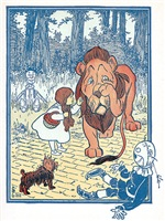 A vintage illustration from the 1908 children's book, The Wizard of Oz by L. Frank Baum; Dorothy reprimands the cowardly lion. You ought to be ashamed of yourself!