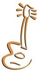 Orange acoustic guitar caricatured illustrat