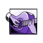 acoustic guitar hand playing purple graphic