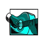 acoustic guitar hand playing teal