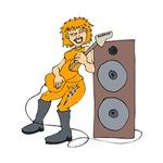 punk guitar female player orange