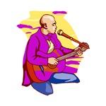purple shirt guitar player kneeling bald music
