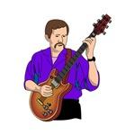 purple shirt semi hollow guitar musical player