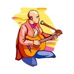 sitting guitarist bald man pink