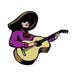 mariachi guitar player purple shirt music