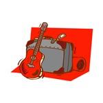 red guitar on suitcase desgin