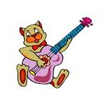 cat playing pink bass guitar