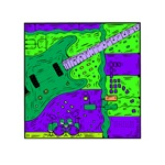 guitar drumset collage green purple