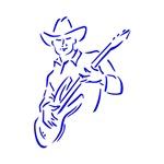 guitar player outline cowboy blue