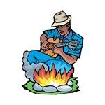 blues guitarist by campfire blue